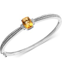 effy citrine (3-1/2 ct. t.w.) & diamond accent bangle bracelet in sterling silver