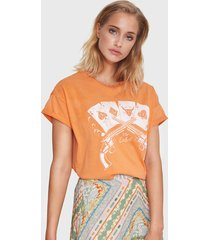 alix 201836447 ladies knitted vintage playing cards t-shirt. oranje