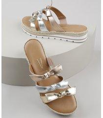 sandália feminina vizzano flatform com tiras com nó metalizadas dourada