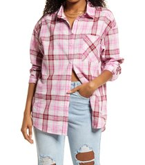 bp. plaid button-up shirt, size large in pink refined plaid at nordstrom