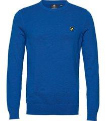 cotton crew neck jumper stickad tröja m. rund krage blå lyle & scott