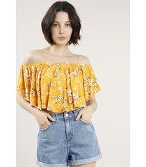 blusa feminina ciganinha cropped estampada floral manga curta mostarda