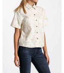 camisa denim botanic print