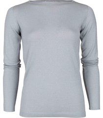 aqua long sleeve cashmere silk and lurex boatneck pullover