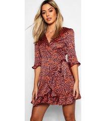 petite satin leopard print ruffle wrap tea dress, orange