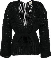 sminfinity chunky-knit cardigan - black
