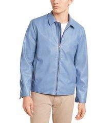 alfani men's faux-leather harrington jacket, created for macy's