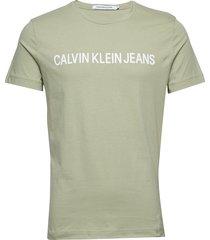 institutional slim logo tee t-shirts short-sleeved grön calvin klein jeans