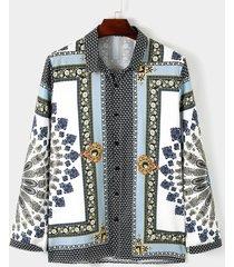camisa bohemia para hombre camisa de estilo étnico casual tribal con estampado integral