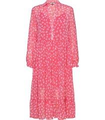 tjw floral midi shirt dress knälång klänning rosa tommy jeans