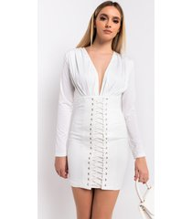 akira peace of mind long sleeve lace up deep v bandage dress