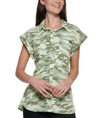 calvin klein cuffed-sleeve camouflage shirt