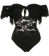 amir slama off-shoulder floral lace one piece - black
