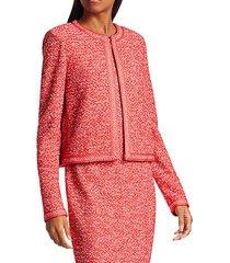 marled space dyed tweed knit jacket