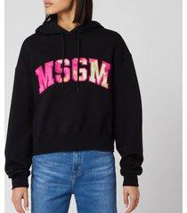 msgm women's large logo hoodie - black - l