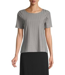 eileen fisher women's ribbed short-sleeve top - zinc - size l