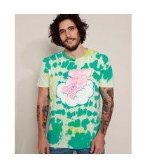 camiseta masculina elefante ursinhos carinhosos estampada tie dye manga curta gola careca verde