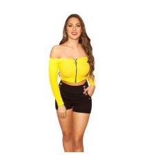 sexy crop lange mouw shirt met ritssluiting geel