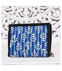 batik cotton wallet, 'magnificent flair in blue' (india)