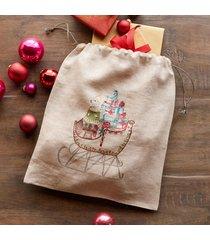 coral & tusk santa's sleigh drawstring bag