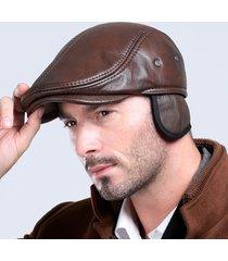 uomo berretto classico in pelle vera con estensioni orecchie e fori ventilati