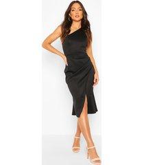 one shoulder pleat detail midi dress, black