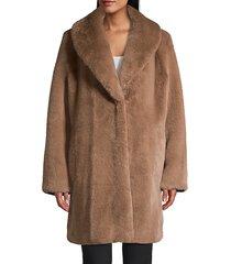 donna karan women's oversized faux fur coat - chestnut - size m