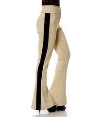 calça bisô suede flare faixa feminina
