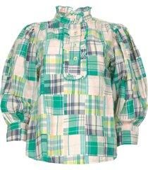 geruite katoenen blouse alama  groen