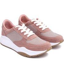 tenis mujer rosa suela amplia color rosado, talla 35