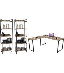 conjunto escritã³rio estilo industrial mesa 150x150cm e 2 estantes 60cm 5 prateleiras prisma carvalho - mpozenato - marrom - dafiti