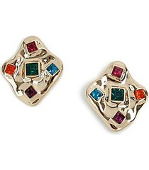 *mega crystal square stud earrings - multi
