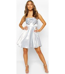 occasion satin bow detail skater dress, grey