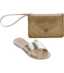 melissa good times slide sandal & clutch set - metallic