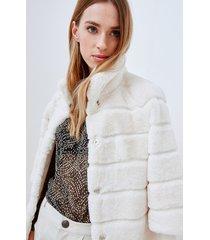 motivi cappotto in simil pelliccia donna bianco