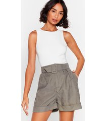 womens we're workin' on it relaxed belted shorts - green