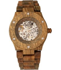 earth wood grand mesa automatic skeleton wood bracelet watch olive 44mm