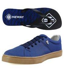 kit sapatenis casual neway sw masculino azul + 1 chinelo neway