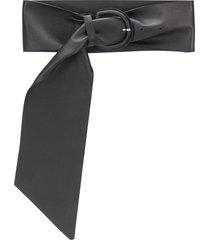 msgm sash leather belt - black