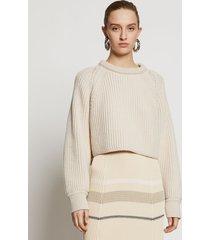 proenza schouler chunky cotton rib sweater ecru/white l