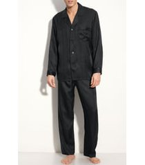 men's majestic international herringbone stripe silk pajamas, size large - black