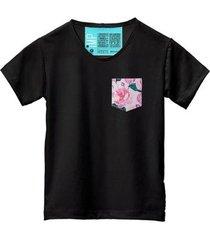 camiseta masculina algodão bolso estampa flor manga curta - masculino