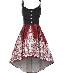 baroque print mock button high low dress
