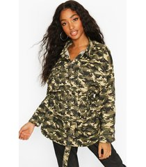 oversized belted camo print shirt jacket, khaki