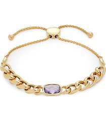 saks fifth avenue women's 14k yellow gold & amethyst bolo bracelet