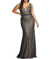 plus size women's mac duggal lace trumpet gown, size 14w - black