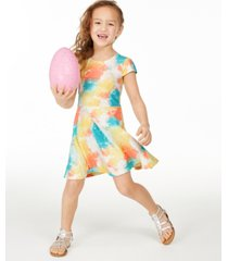 epic threads toddler girls tie-dye fit & flare dress, created for macy's