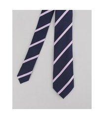 gravata em jacquard listrada azul marinho