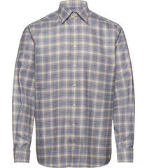 blue & yellow micro weave twill shirt overhemd casual multi/patroon eton