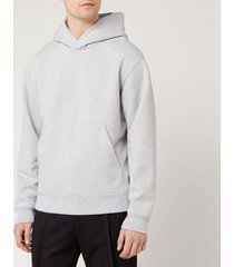 acne studios men's classic fit hooded sweatshirt - pale grey melange - xl